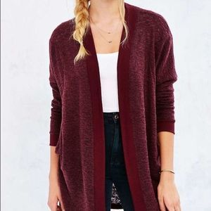 Silence & Noise Burgundy Open Front Cozy Cardigan